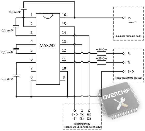 Схема дебаг-кабеля