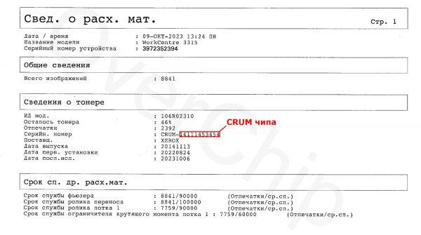Отчёт о расходных материалах WorkCentre 3315